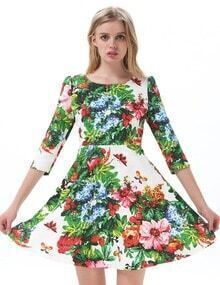 Green Long Sleeve Floral Print Pleated Dress