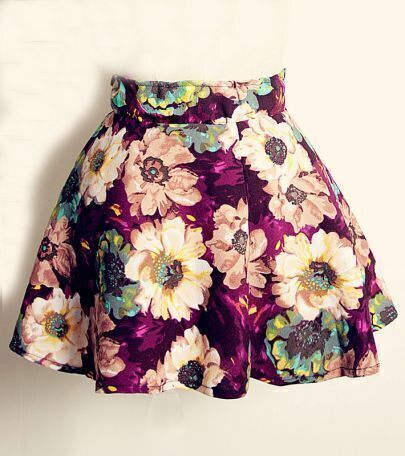 Purple Vintage Floral Print Pleated Skirt