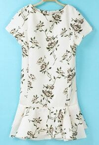 White Short Sleeve Floral Ruffle Dress