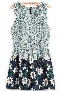 Green Round Neck Sleeveless Floral Ruffle Dress