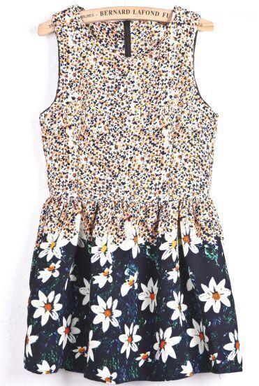 Orange Round Neck Sleeveless Floral Ruffle Dress