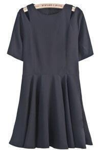 Black Off the Shoulder Short Sleeve Pleated Dress