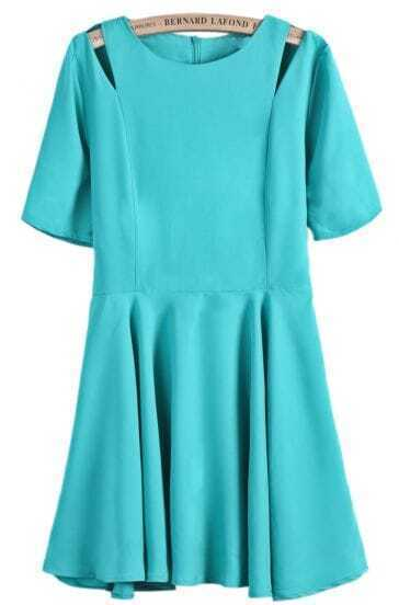 Green Off the Shoulder Short Sleeve Pleated Dress