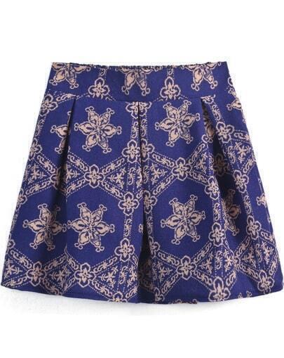 Purple Elastic Waist Floral Ruffle Skirt