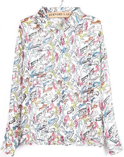 White Lapel Long Sleeve Multicolor Arrow Print Blouse