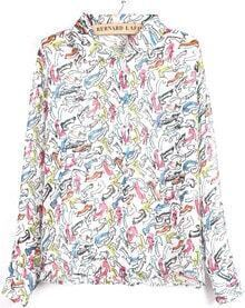 White Lapel Long Sleeve Multicolor Arrow Print Blouse