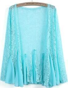 Blue Contrast Chiffon Pleated Lace Blouse