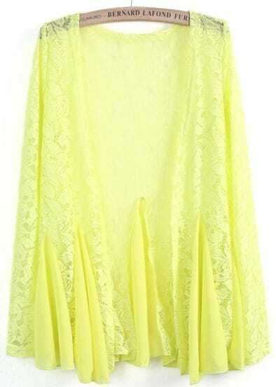 Yellow Contrast Chiffon Pleated Lace Blouse