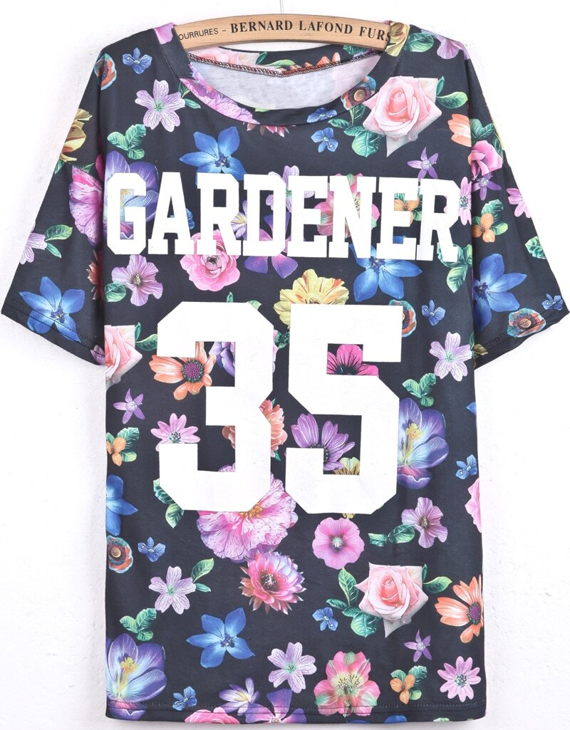 Black short sleeve floral letters 35 print t shirt shein for Black floral print shirt