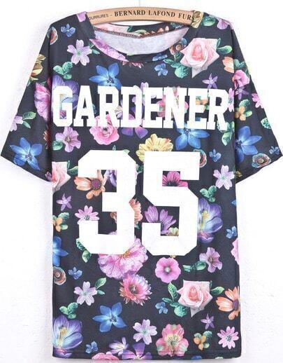 Schwarzes Blumen-T-Shirt mit Buchstaben und 35-Print