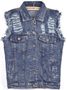 Blue Lapel Sleeveless Ripped Letters Print Vest