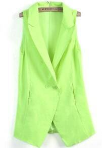 Neon Green Notch Lapel Sleeveless Long Blazer