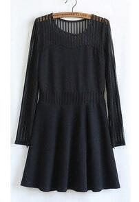 Black Long Sleeve Contrast Mesh Yoke Pleated Dress