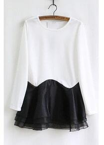 White Long Sleeve Contrast Black Ruffle Dress