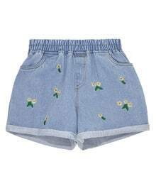 Blue Flower Embroidery Denim Pants