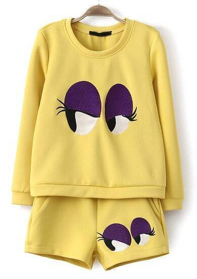 Yellow Long Sleeve Eyes Embroidered Sweatshirt With Shorts