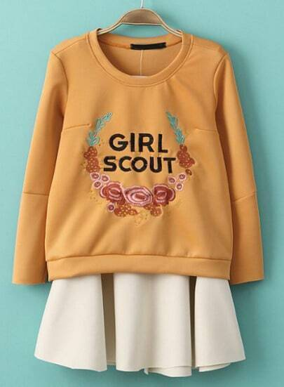 Orange Long Sleeve Embroidered Sweatshirt With Beige Skirt