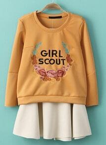 Orange Long Sleeve Embroidered Sweatshirt With Beige Skirt