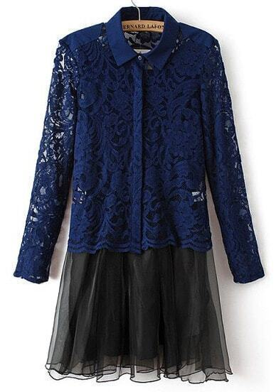 Blue Lapel Long Sleeve Lace Blouse With Dress