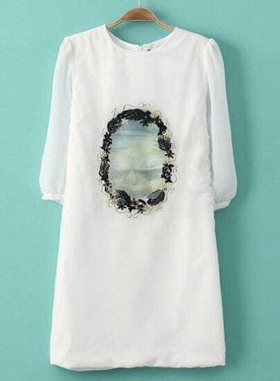 White Round Neck Embroidered Chiffon Straight Dress