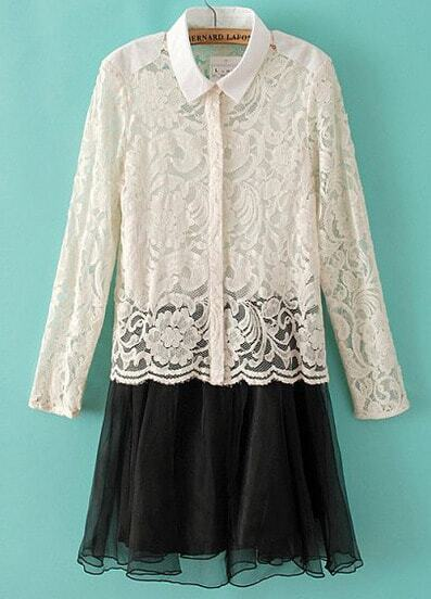 Beige Lapel Long Sleeve Lace Blouse With Dress