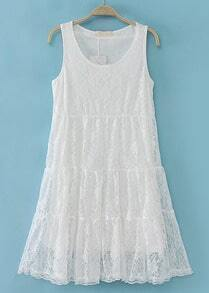 White Round Neck Sleeveless Lace A Line Dress