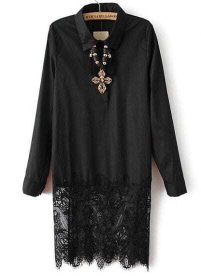 Black Lapel Long Sleeve Contrast Lace Dress