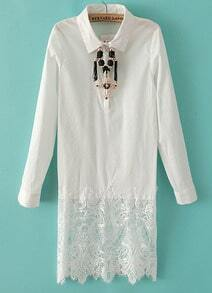 White Lapel Long Sleeve Contrast Lace Dress