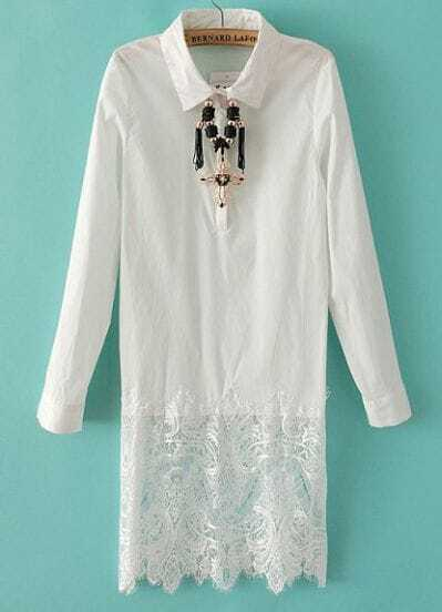 White Lapel Long Sleeve Contrast Lace Dress
