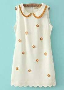 White Lapel Sleeveless Embroidered Dress