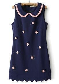 Blue Lapel Sleeveless Embroidered Dress