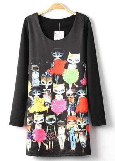 Black Long Sleeve Cartoon Cats Print Dress