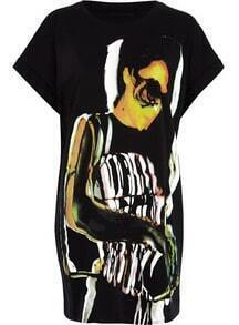 Black Short Sleeve Punk Beauty Print Dress