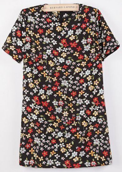 Black Short Sleeve Floral Straight Dress