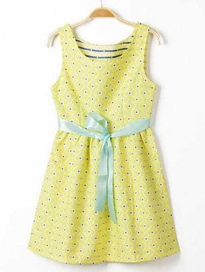 Yellow Sleeveless Belt Floral Crochet Dress