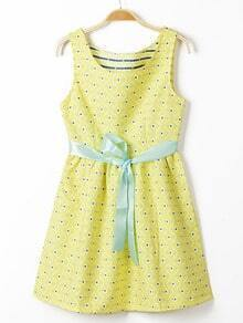 Yellow Sleeveless Belt Floral Crochet Dress