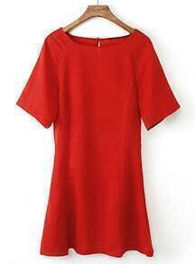 Red Short Sleeve Back Hollow Ruffle Dress