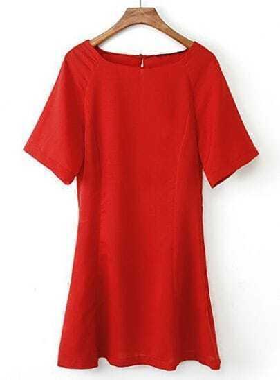 Red Short Sleeve Back Hollow Ruffle Dress