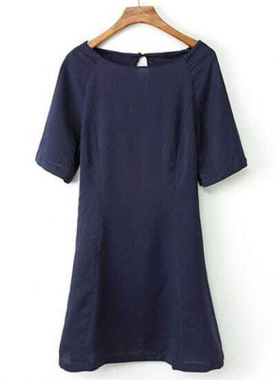 Navy Short Sleeve Back Hollow Ruffle Dress