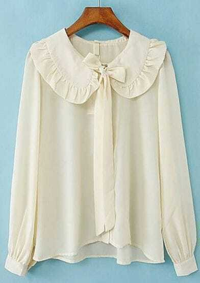 Beige Ruffle Lapel Long Sleeve Chiffon Blouse