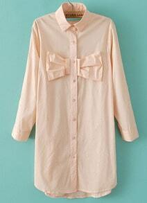 Light Pink Lapel Long Sleeve Bow Loose Blouse