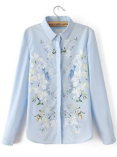 Light Blue Lapel Long Sleeve Floral Loose Blouse