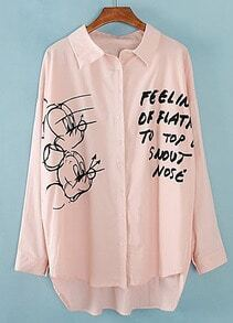 Pink Lapel Long Sleeve Mickey Letters Print Blouse