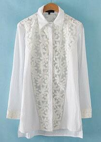 White Lapel Long Sleeve Lace Loose Blouse
