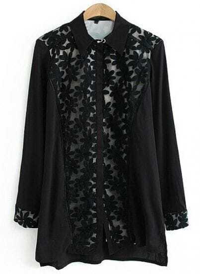 Black Lapel Long Sleeve Lace Loose Blouse
