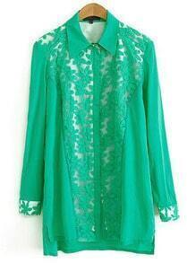 Green Lapel Long Sleeve Lace Loose Blouse