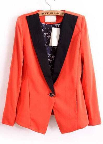 Orange Contrast Collar Cat Print Blazer
