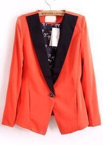 Orange Contrast Collar Cat Print Blazer