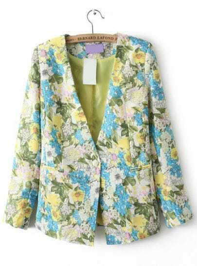 Blue Yellow Collarless Floral Fitted Blazer