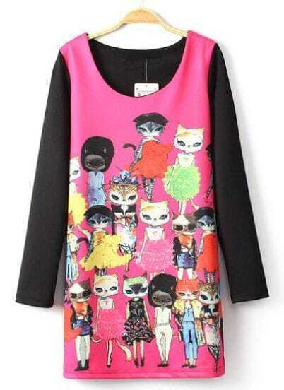 Rose Red Long Sleeve Cartoon Cats Print Dress